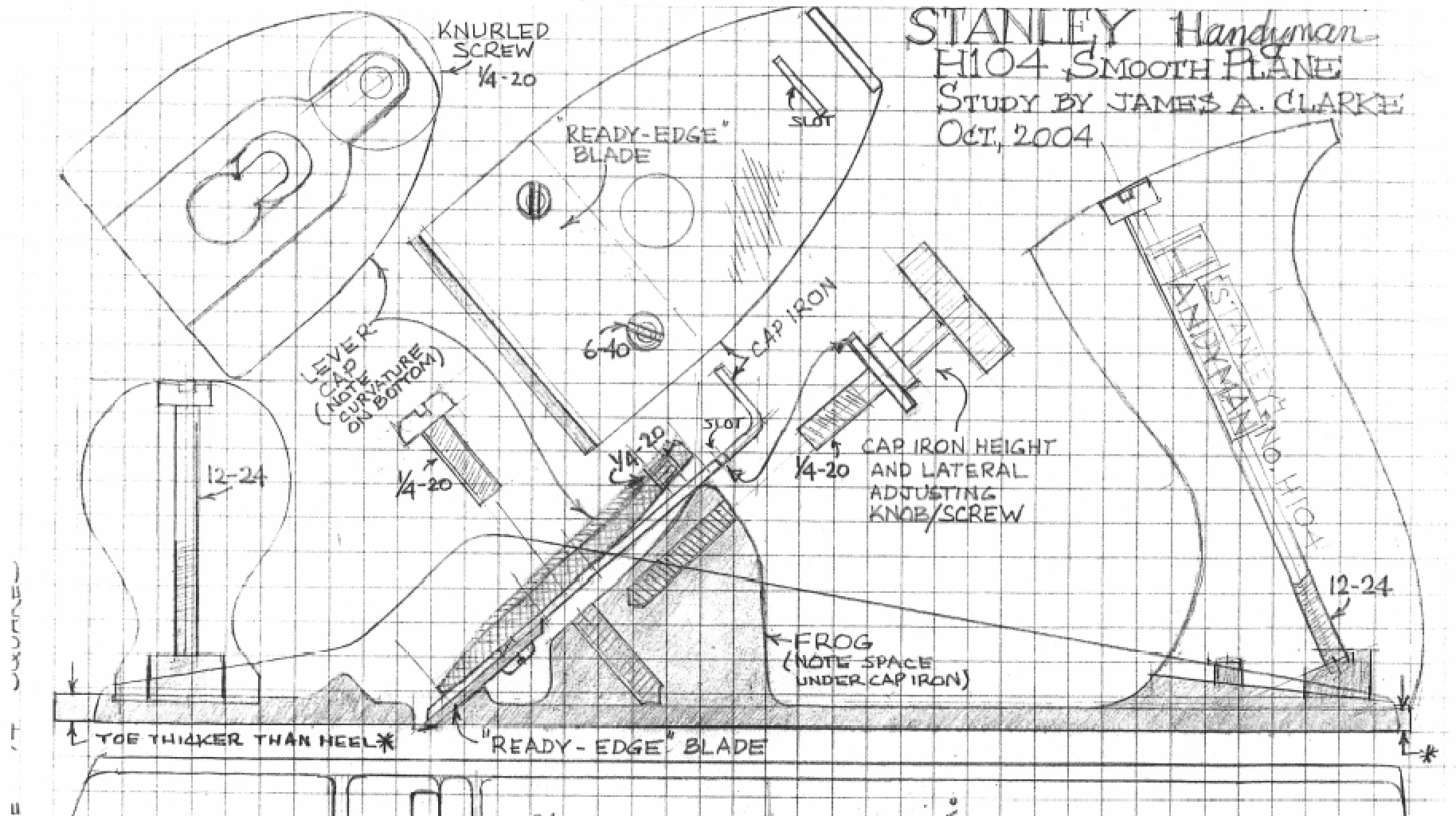 "Stanley ""Handyman"" H104 Plane as drawn by James A. Clarke"