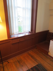 Interior West Family Dwelling, note drawers under windowsill