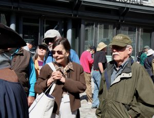 Bob and Alice Roemer listening to our guide in Old Quebec during the 2015 EAIA Annual Meeting in Quebec City.