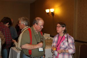 "Tom Graham and Jane Rees at the ""Whatsits"" session during the 2015 EAIA Annual Meeting in Quebec City."
