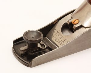 Eccentric Lever Adjustment mechanism on No. 18 Block Plane from the Stanley Model Shop.