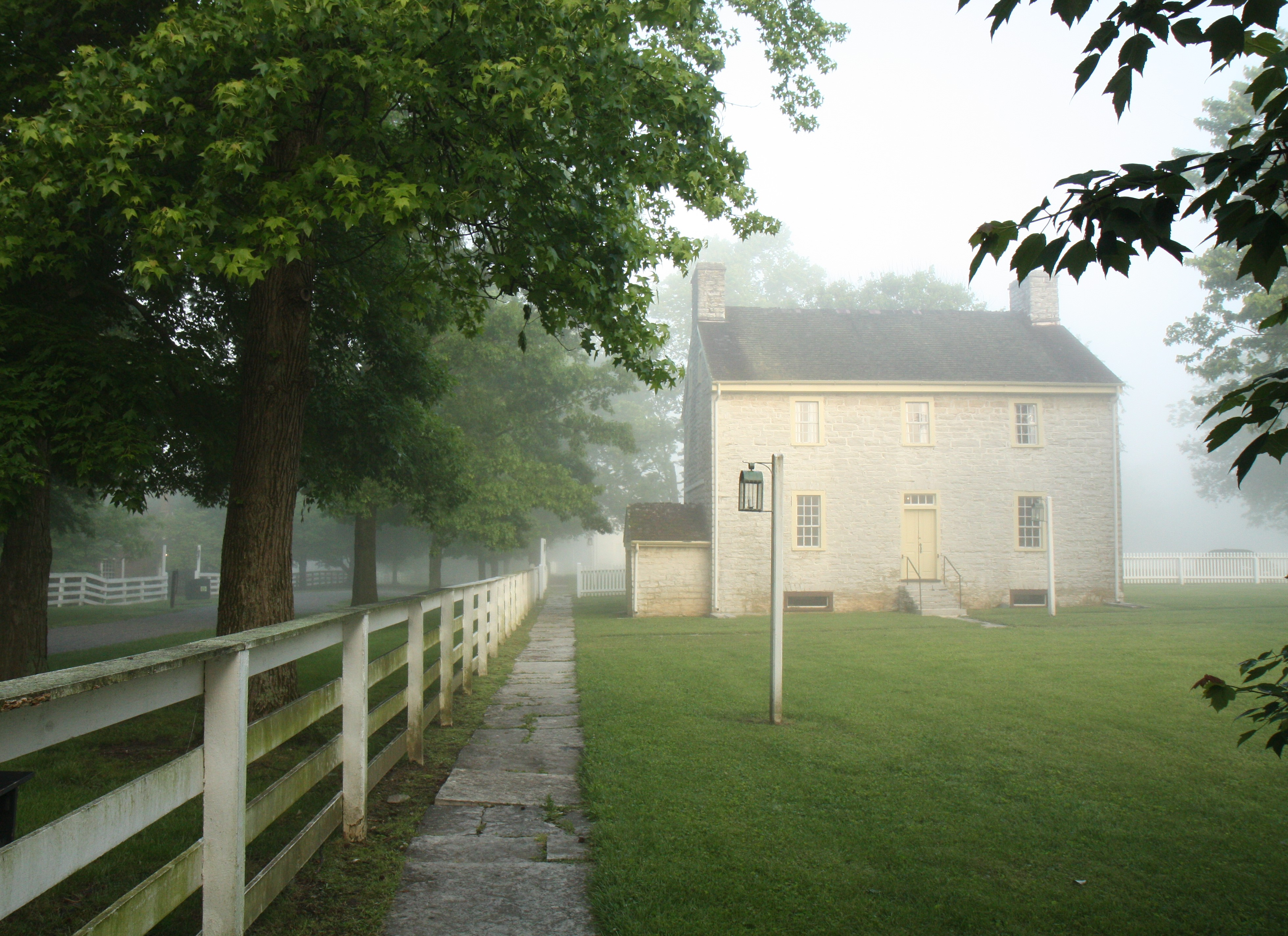 Early Morning at Pleasant Hill Shaker Village, May, 2016, The Old Stone Shop Built in 1811