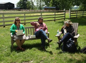 Heidi Campbell-Shoaf, Dana Shoaf, and Gloria Elliott Having Lunch During the 2016 EAIA Meeting at Pleasant Hill Shaker Village