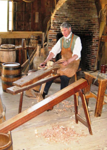 Cooper working a stave on a shave horse