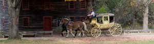 Coach in front of Bullard Tavern at Old Sturbridge Village