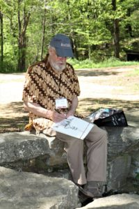 Tom Elliott Working on one of His Drawings During the 2017 EAIA Annual Meeting at Old Sturbridge Village