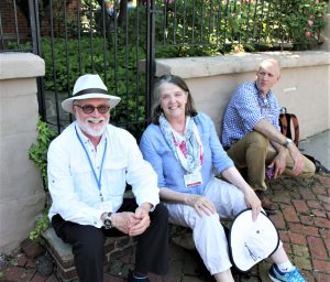 Bruce and Patty MacLeish and Tyler Merson waiting for the bus, 2018 EAIA Annual Meeting