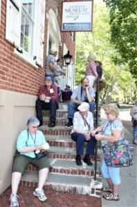 Waiting for the bus after a full day of touring historic Bethlehem, PA at the 2018 EAIA Annual Meeting