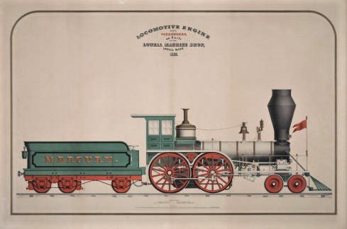 Locomotive Engine built by the Lowell Machine Shop in 1852