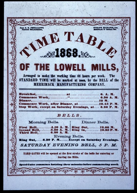 Work Schedule at the Lowell Mills