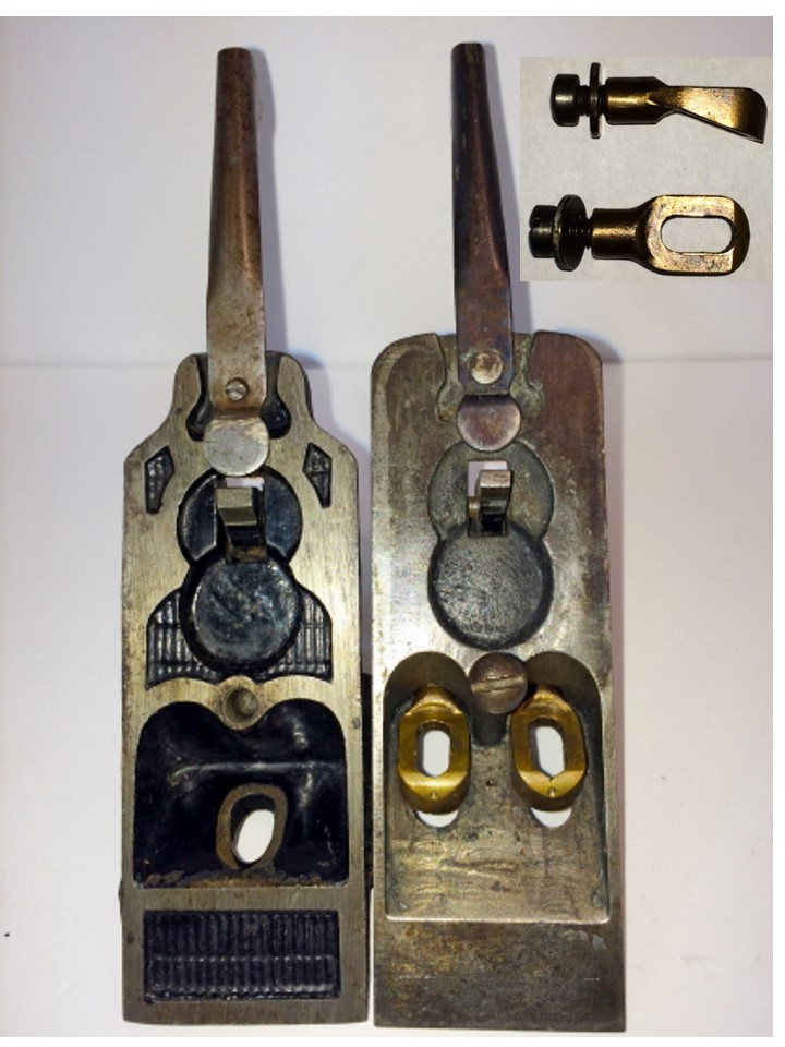 Figure 4  Upper sides of Shaw's Patent frog (left) and prototype frog (right)