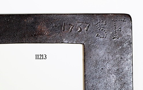 "Early Framing Square with the Date 1737 and the Maker's Initials, ""S T"""