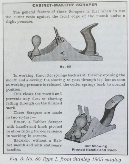 Reproduction of Wells and Wirtenson's [1] Figure 3 Stanley 1905 catalog cut showing Stanley No. 85 scraper plane