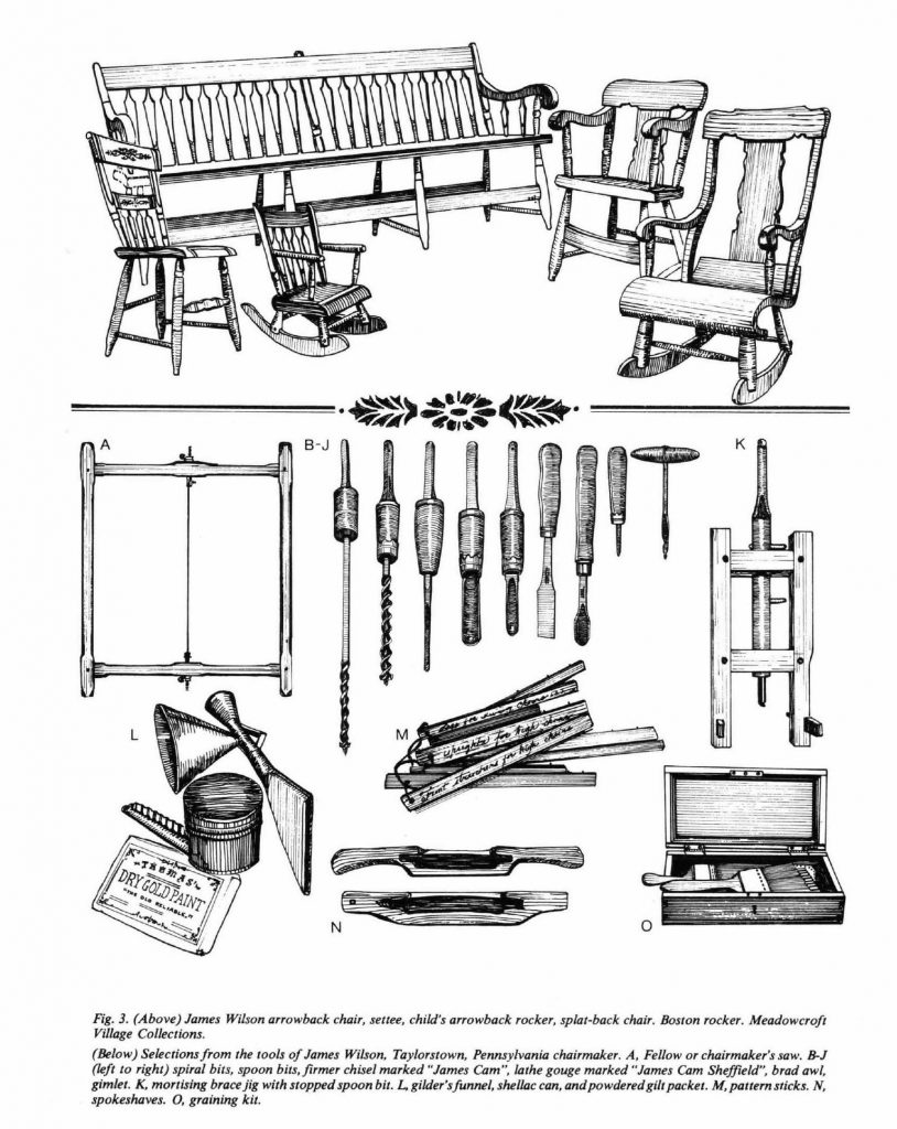 drawings of james wilson chairs and tools